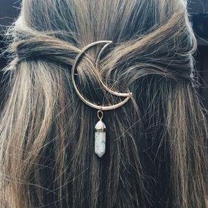 Moon Crystal Stone Gold Bohemian Boho Hairpin